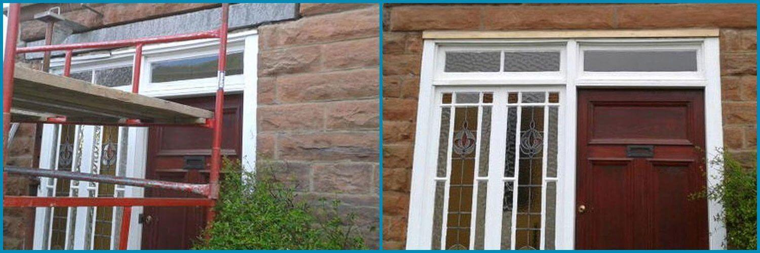 Stone Restoration Edinburgh Before & After - Lithomex Stone Repair Compound - free scaffold hire