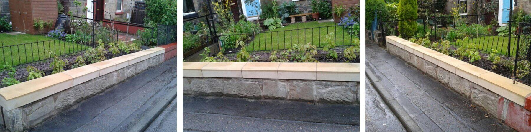 Wall Repairs Stonemasons East Lothian - Repair Of Sandstone Coping Stones - stonemasons east lothian